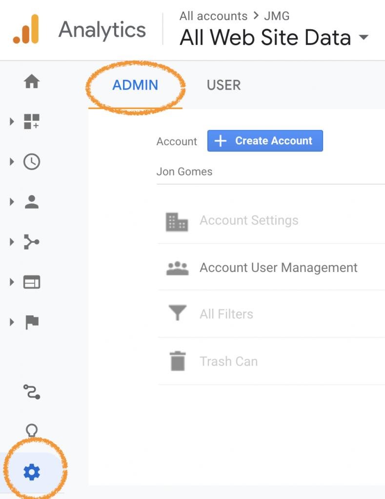 Google Analytics Admin Section